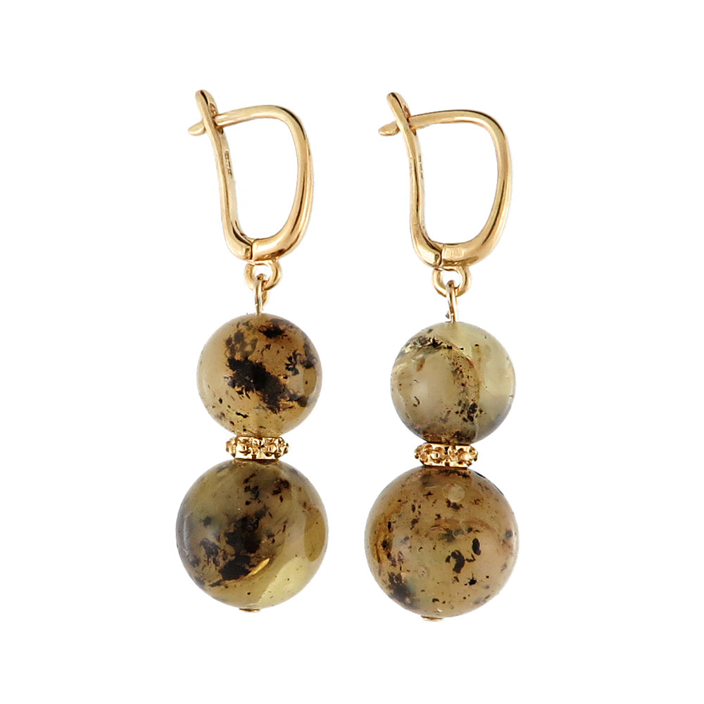 Milky-Fossil Amber Round Dangle Earrings 14K Gold Plated