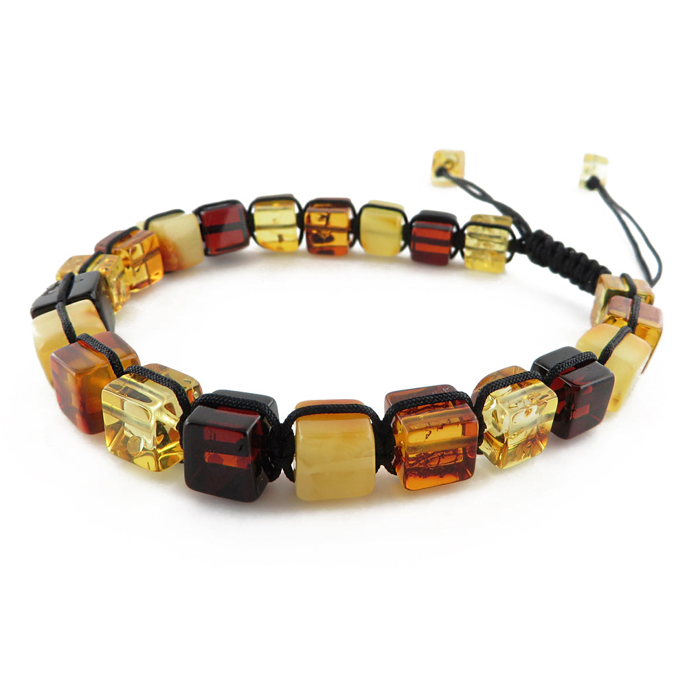 Multi-Color Amber Cube Beads Adjustable Bracelet - Amber Alex Jewelry