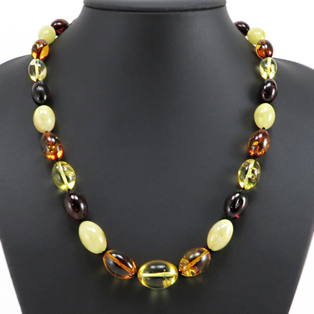 Multi-Color Amber Olive Beads Necklace - Amber Alex Jewelry