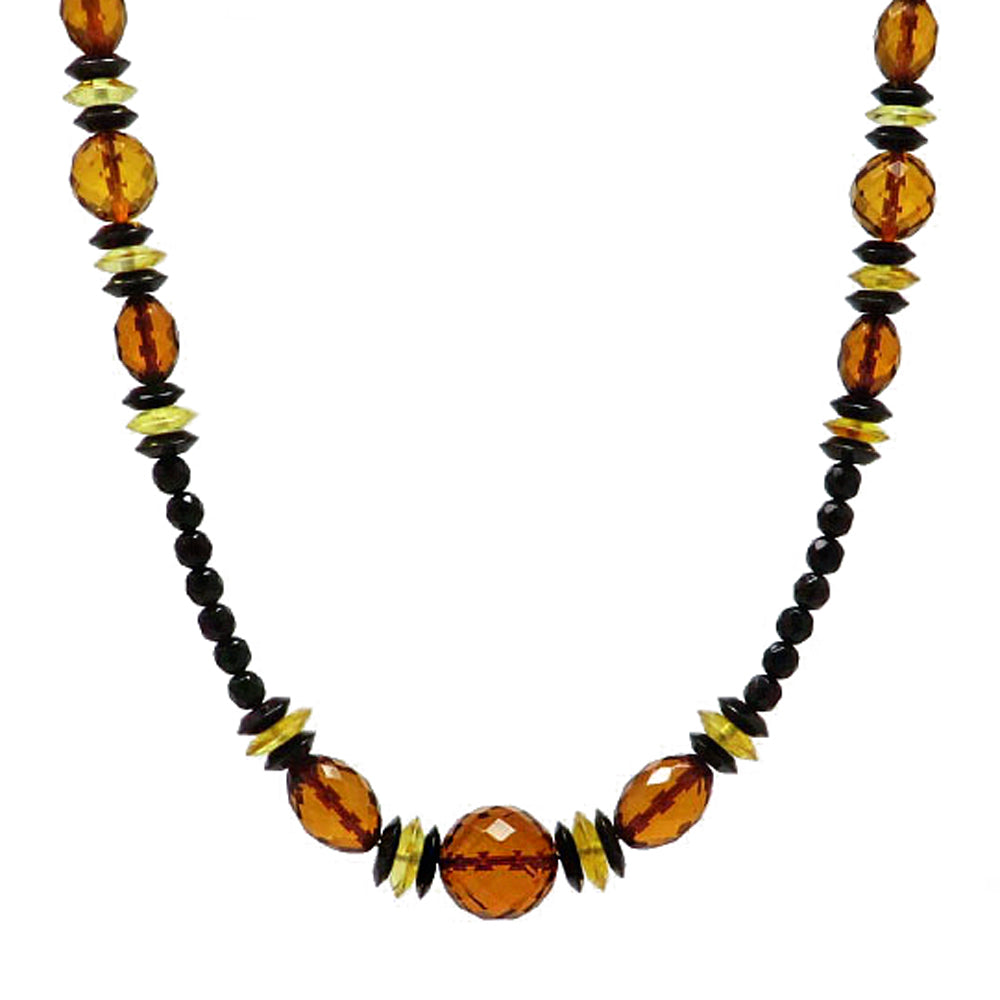 Multi-Color Amber Faceted Beads Necklace - Amber Alex Jewelry