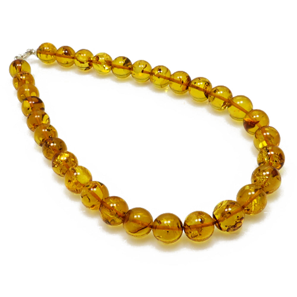Cognac Amber Round Beads Necklace - Amber Alex Jewelry