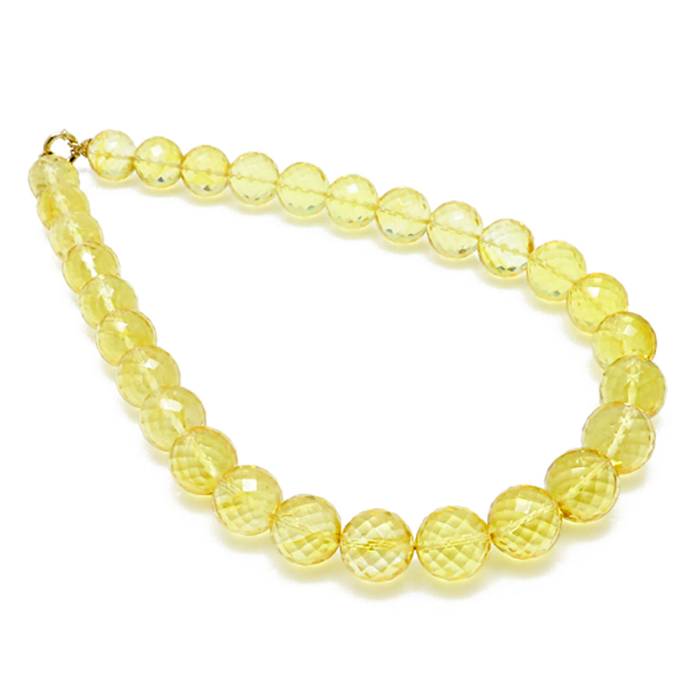 Lemon Amber Faceted Round Beads Necklace - Amber Alex Jewelry