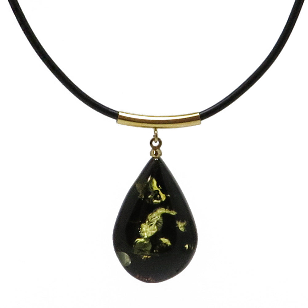 Earth Stone Amber Drop Pendant & Leather Necklace - Amber Alex Jewelry