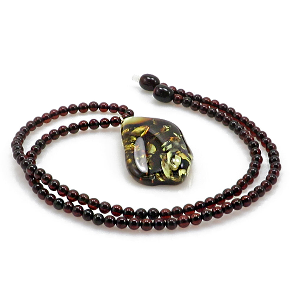Earth Stone Amber Free Shape Pendant Beaded Necklace - Amber Alex Jewelry