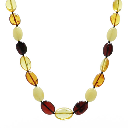 Multi-Color Amber Bean Beads Necklace - Amber Alex Jewelry
