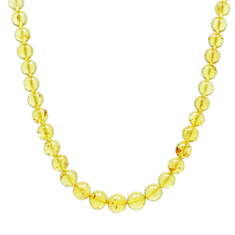 Lemon Amber Round Beads Necklace - Amber Alex Jewelry