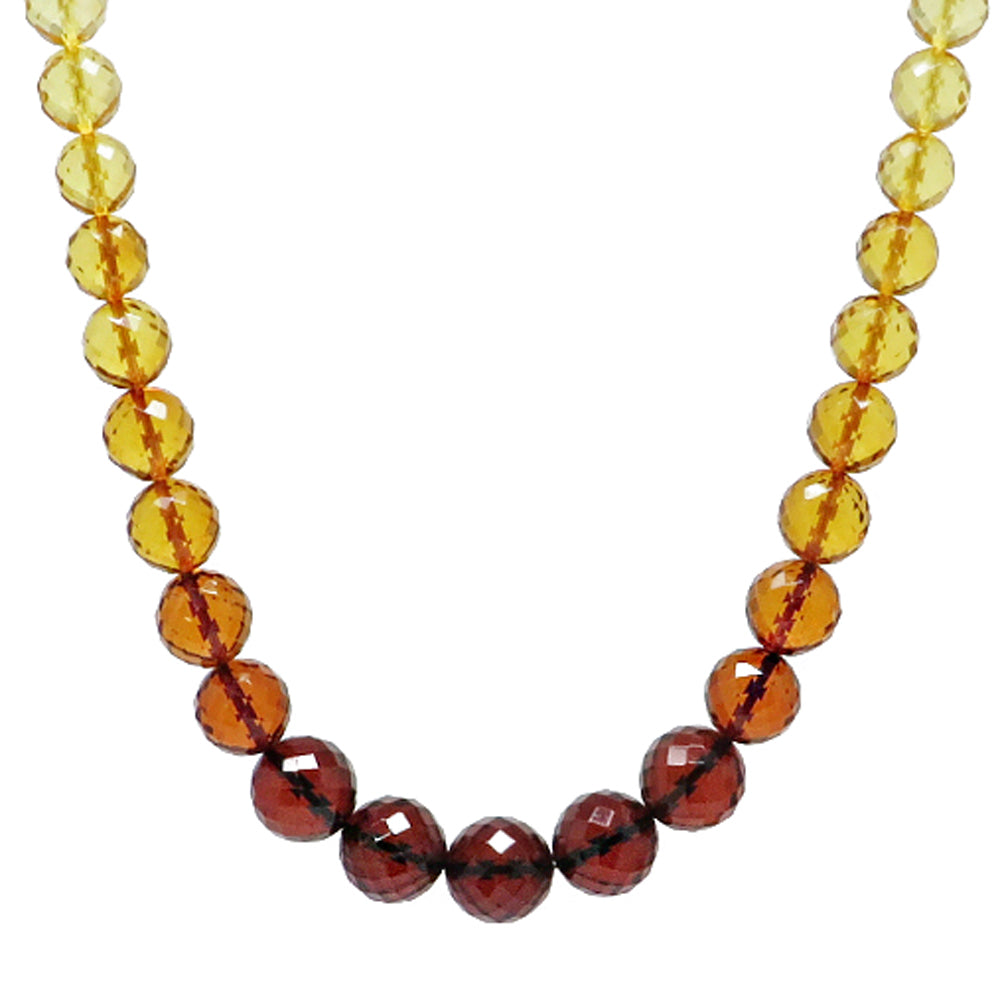 Rainbow Amber Faceted Round Beads Necklace - Amber Alex Jewelry