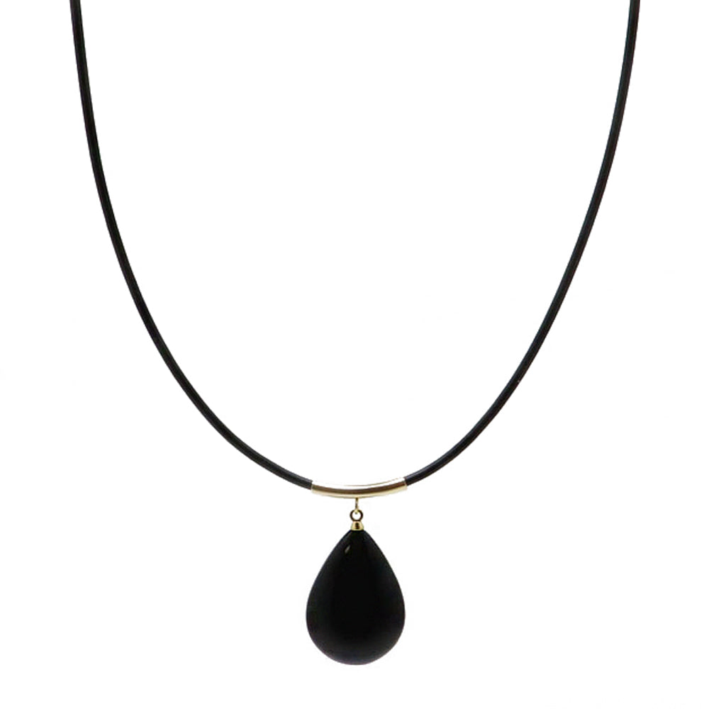 Black Amber Drop Pendant & Leather Necklace - Amber Alex Jewelry
