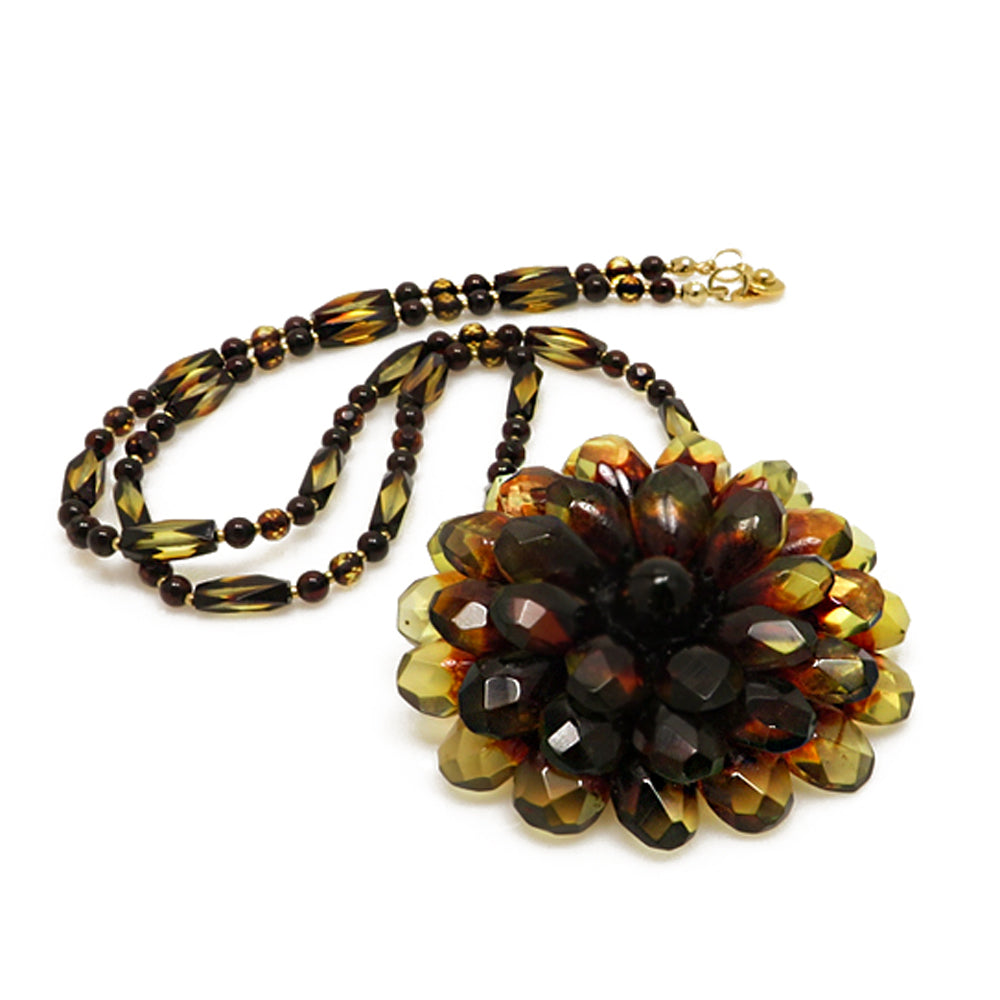 Gradient Amber Flower Necklace - Brooch - Amber Alex Jewelry