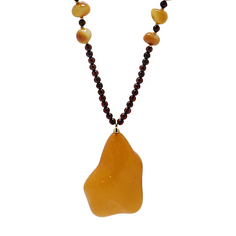 Antique Amber Wave Pendant Beaded Necklace - Amber Alex Jewelry