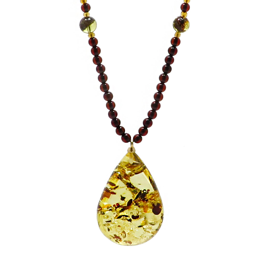 Lemon with Dark Flakes Amber Drop Pendant Beaded Necklace - Amber Alex Jewelry