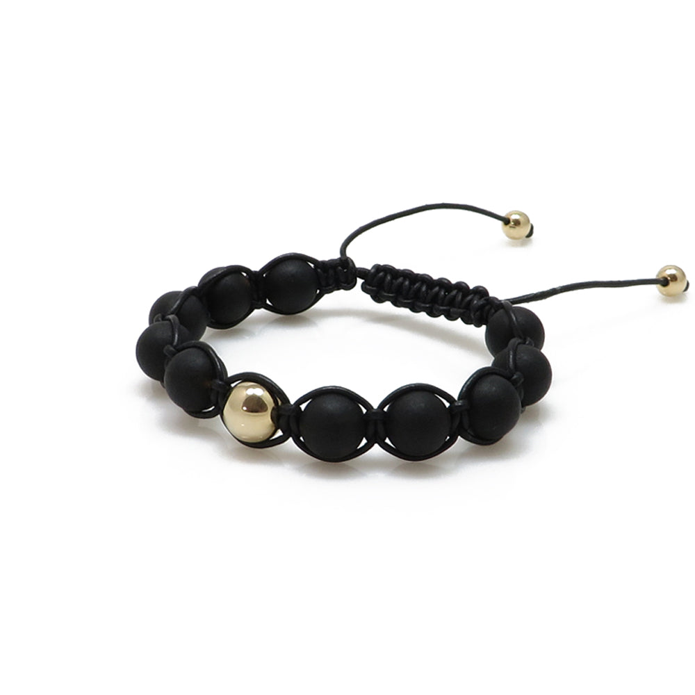 Black Amber Round Beads Adjustable Bracelet 14K Gold Plated - Amber Alex Jewelry
