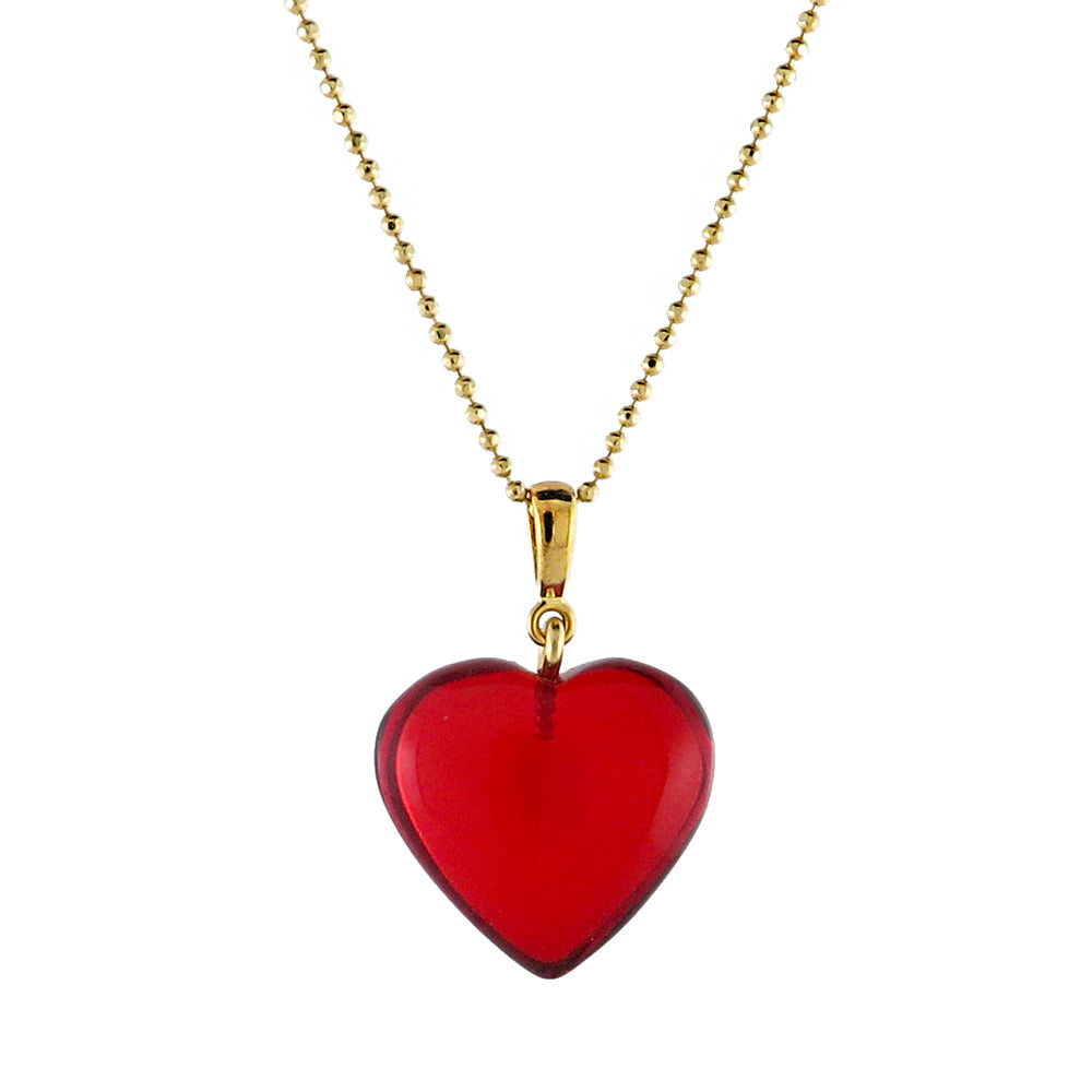 Red Amber Heart Pendant & Chain Necklace 14K Gold Plated - Amber Alex Jewelry