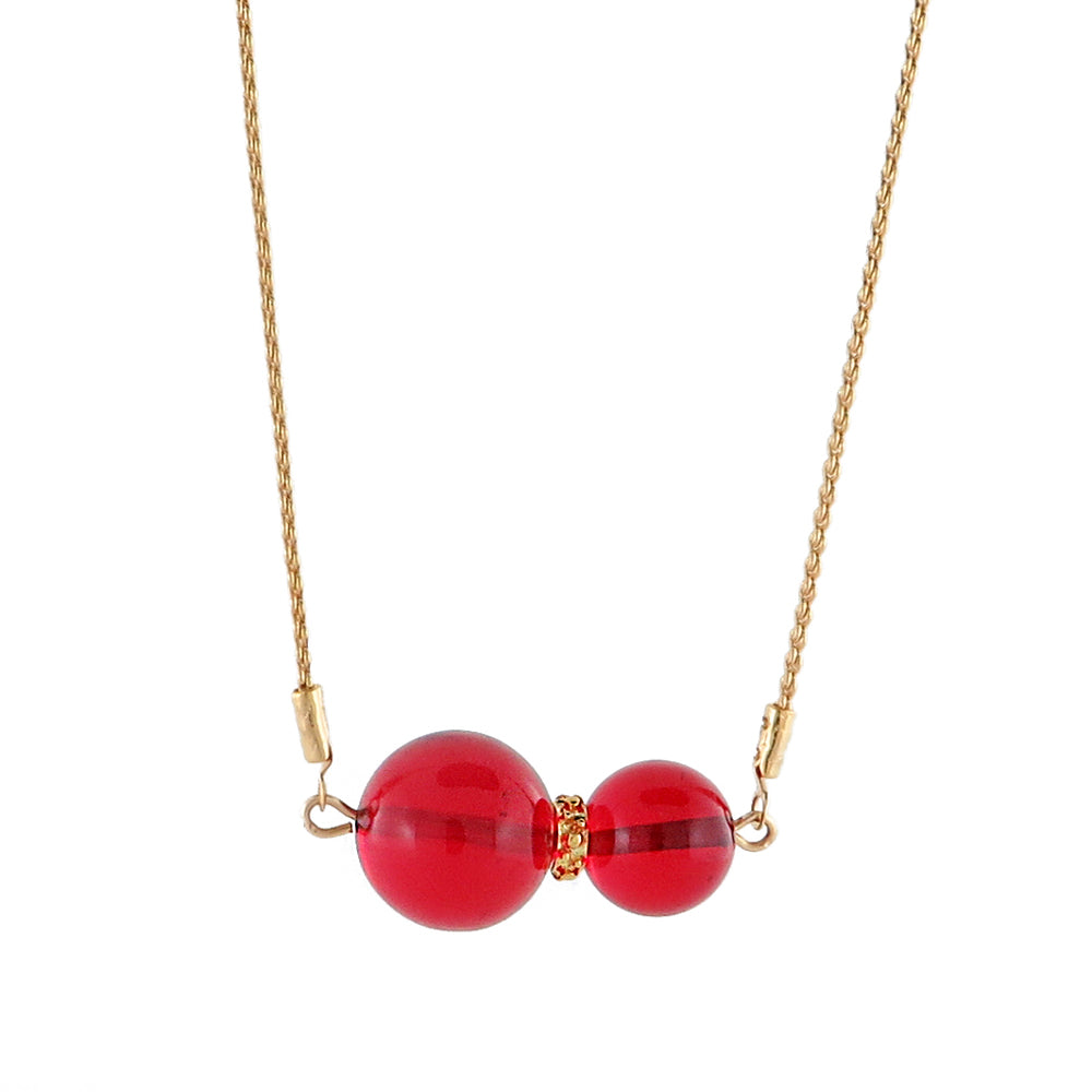 Red Round Beads Chain Necklace 14K Gold Plated - Amber Alex Jewelry
