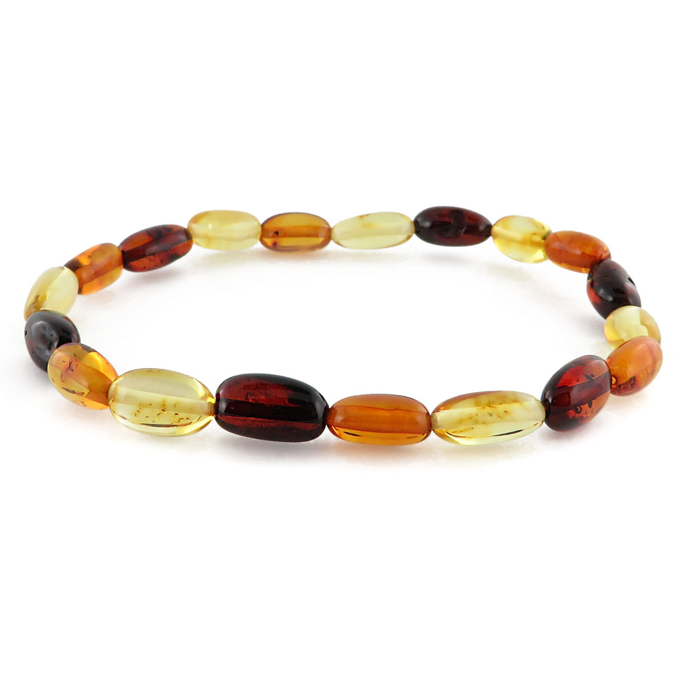 Multi-Color Amber Small Nugget Stretch Bracelet - Amber Alex Jewelry
