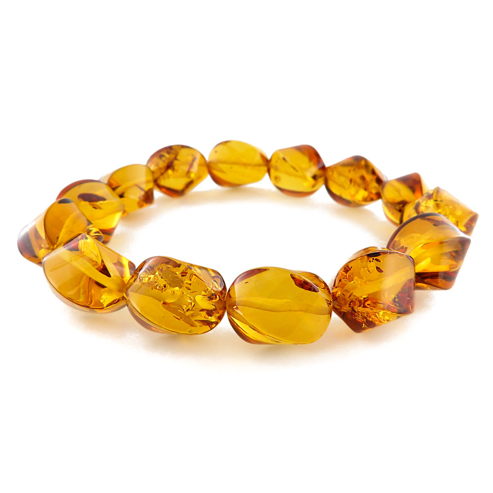Cognac Amber Twisted Beads Stretch Bracelet - Amber Alex Jewelry