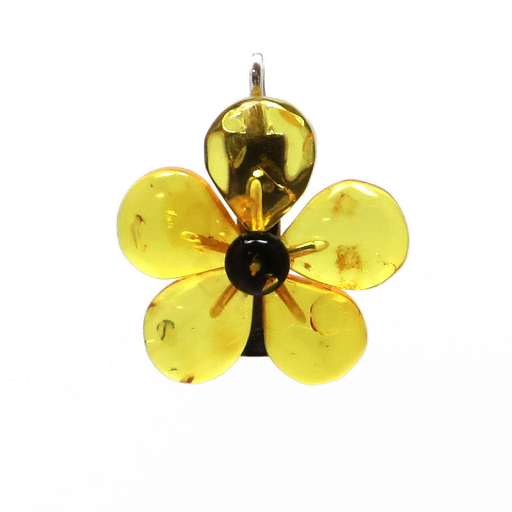 Lemon Amber Flower Brooch - Pendant - Amber Alex Jewelry