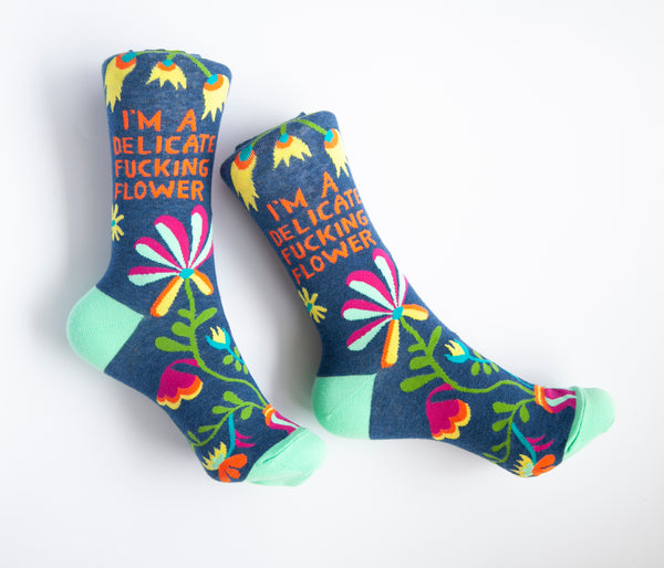 I'm A Delicate Fucking Flower - Blue Q Women's Crew Socks