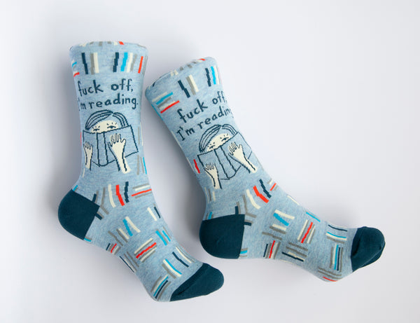 Fuck Off, I'm Reading - Blue Q Women's Crew Socks