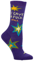 I Gave A Fuck, Once (Panoramic) - Blue Q Women's Crew Socks