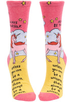 Always Be Yourself Unless You Can Be A Unicorn - Blue Q Women's Crew Socks