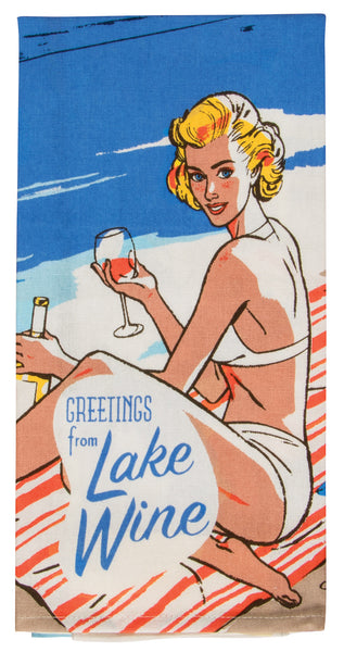 Greetings From Lake Wine - Blue Q Dish Towel