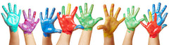 toddler hands with paint on