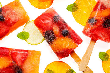 Toddler indoor play ideas, fruit ice lollys.