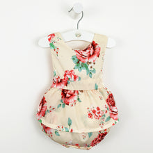 Load image into Gallery viewer, Baby girl romper, pretty floral print summer baby romper, Beautiful toddler girls summer outfit that has a bow tie to the back and a sleeveless design. Pretty summer clothes for girls. Can be layered with a baby blouse.