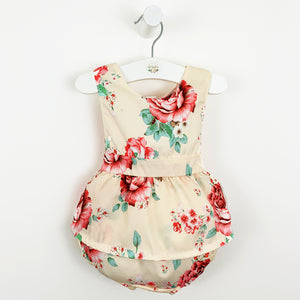 Baby girl romper, pretty floral print summer baby romper, Beautiful toddler girls summer outfit that has a bow tie to the back and a sleeveless design. Pretty summer clothes for girls. Can be layered with a baby blouse.