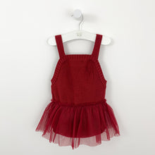 Load image into Gallery viewer, Red knitted romper for babies and toddlers with a mesh tutu skirt.  Red knitted styles for baby girls and toddler girls. Perfect for a Christmas outfit, layer with a pretty long sleeve top or cute cardigan. Knitted romper with tutu skirt.