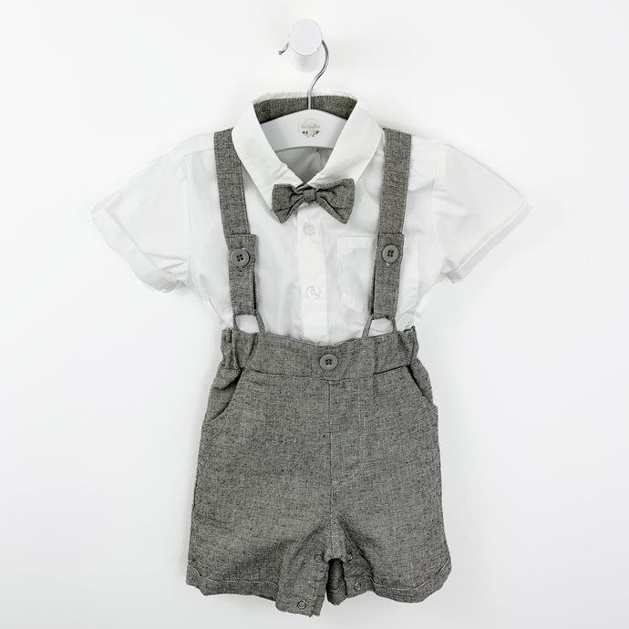 Boys suit for formal occasion, christening outfit for boys. Three piece set complete with a white shirt, bow tie and dungaree shorts. The cutest little suit in warm grey/ white.