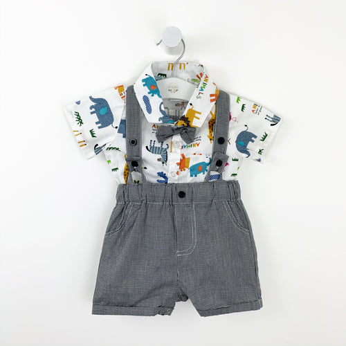 Baby and toddler boys, boys suit with animal print shirt and short dungarees. Boys party outfit. Baby boy party suit with a bow tie, shirt and dungarees.