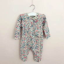 Load image into Gallery viewer, Baby girls vintage floral baby grow. This has such a pretty ditsy floral print in shades of pink, turquoise and blue.