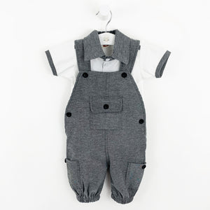 Baby boys dungarees, a 2 piece dungaree set complete with grey dungarees and a white tee with a contrat collar and stripe to the shoulder. Toddler boys would be so comfortable playing in this cute all in one style.