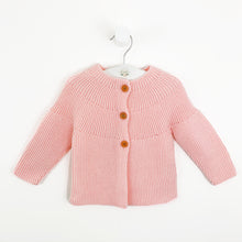Load image into Gallery viewer, Baby knitted cardigan in pink. Long sleeve baby cardigan in a beautiful candy pink shade. Toddler cardigan for all seasons to layer up those pretty outfits.