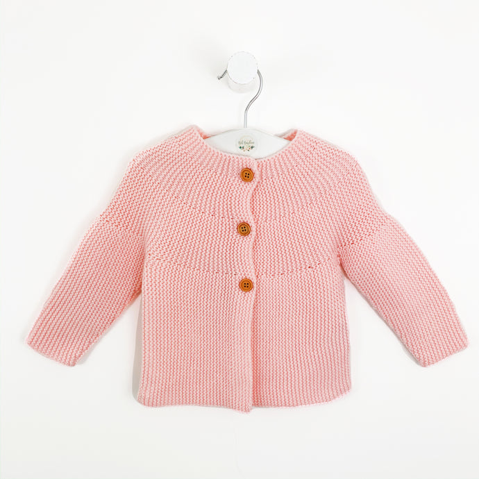 Baby knitted cardigan in pink. Long sleeve baby cardigan in a beautiful candy pink shade. Toddler cardigan for all seasons to layer up those pretty outfits.