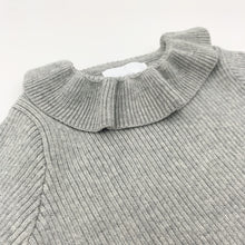 Load image into Gallery viewer, Rib knit sweater for girls with a pretty frill collar, super warm and comfortable sweater up to 3 years old. Shop girls tops at Bel Bambini baby boutique.