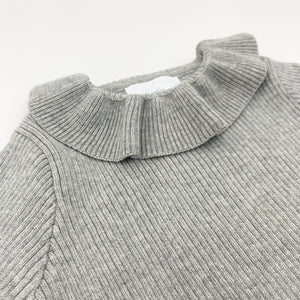 Rib knit sweater for girls with a pretty frill collar, super warm and comfortable sweater up to 3 years old. Shop girls tops at Bel Bambini baby boutique.