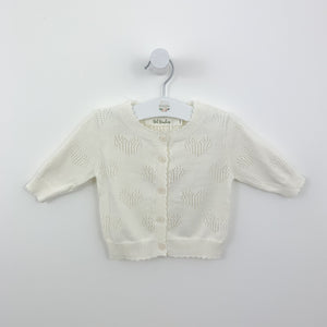 Baby girls cardigan for summertime. Long sleeve cardigan made from 100% cotton yarn is perfect for spring summer. Knitted in supersoft cotton yarn for girls age 0-24 months. Shop our new baby collection at Bel Bambini baby boutique.