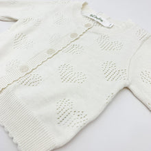 Load image into Gallery viewer, Heart detail openwork cotton knitted cardigan. Baby girls and toddlers need a lightweight summer cardigan for thiose cool evenings to keep warm. Long sleeve knitted cardigan in our new collection of spring summer baby clothing.
