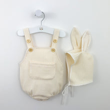 Load image into Gallery viewer, Bunny romper set for baby boys and baby girls, a great Easter outfit for babies too and so cute. soft and comfortable fabric with a matching bunny hat. Available in cream.