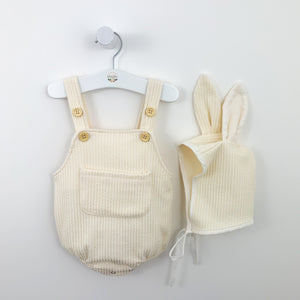 Bunny romper set for baby boys and baby girls, a great Easter outfit for babies too and so cute. soft and comfortable fabric with a matching bunny hat. Available in cream.