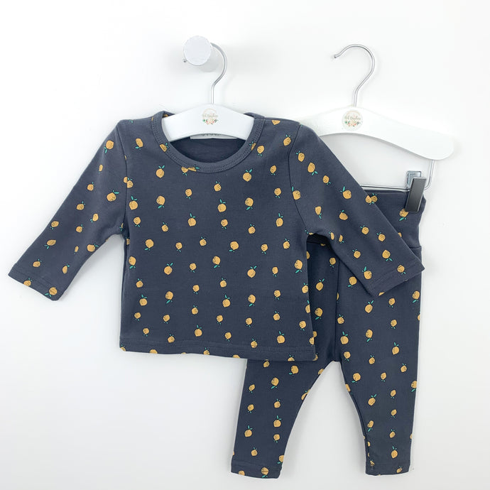 Boys loungewear set featuring a lemon all over print. 0-24 months. Cotton rich lounge set ensuring comfort is key.