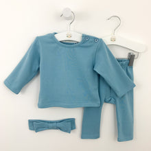 Load image into Gallery viewer, Loungewear set for baby girls available in soft blue or sugar pink. Set comes complete with a headband, long sleeve tee and leggings. Baby girls cotton rich lounge set is perfect for playing and days at nursery or chilling at home.