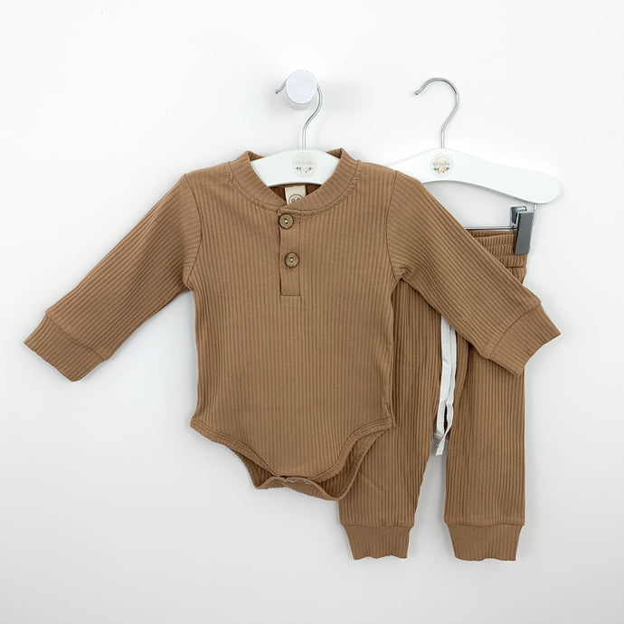 Boys lounge set in tan or grey marl. Perfect for playing and relaxing. Ribbed set with a long sleeved vest and matching pants. Baby boys and toddler boys  comfortable lounge set. Available in sizes 0-18 months for boys.