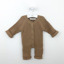 Load image into Gallery viewer, Boys super soft and comfortable knitted romper, Ribbed knitted style looks super cute. All in one boys outfit with button fastenings down the centre front. Boys 0-2 years clothing exclusive to Bel Bambini baby boutique.