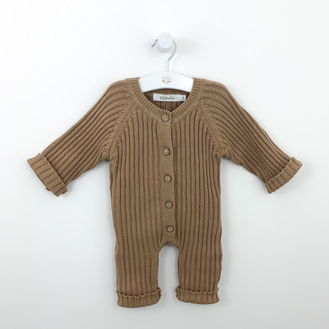 Boys super soft and comfortable knitted romper, Ribbed knitted style looks super cute. All in one boys outfit with button fastenings down the centre front. Boys 0-2 years clothing exclusive to Bel Bambini baby boutique.