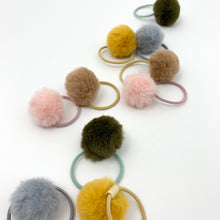 Load image into Gallery viewer, Shop our exclusive range of baby hair accessories, including our fluffy pompom bobbles with an elasticated band. Toddler hair bobbles with fluffy pompoms.