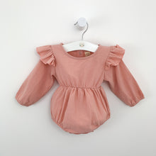 Load image into Gallery viewer, Baby girls romper with frilly flutter shoulder details. Long sleeved romper for girls in a beautiful shade of pink. Pink girls romper. Bel Bambini rompers for toddlers and baby girls. Pretty infant rompers for all seasons. Spring baby style, summer baby styles. Toddler fashion and pretty outfits.